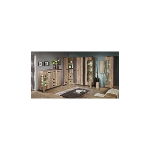 Velká obývací stěna Raven 3 - dub šedý / arusha