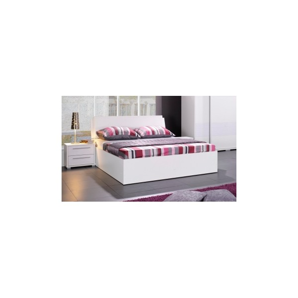 Bílá manželská postel s úložným prostorem Cruz
