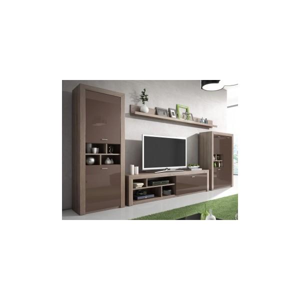 Obývací stěna Nerida - dub lanýžový / hnědý lesk