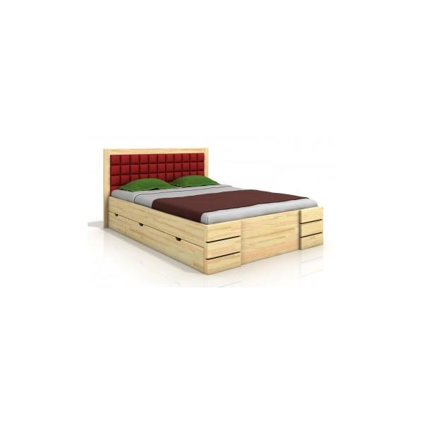 Dřevěná manželská postel Erland 6 s čtyřmi šuplíky