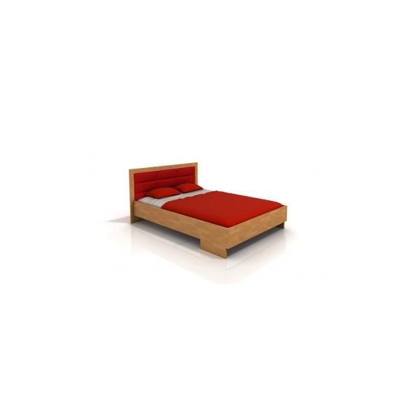 Borovicová manželská postel Inga 3 s čalouněným čelem