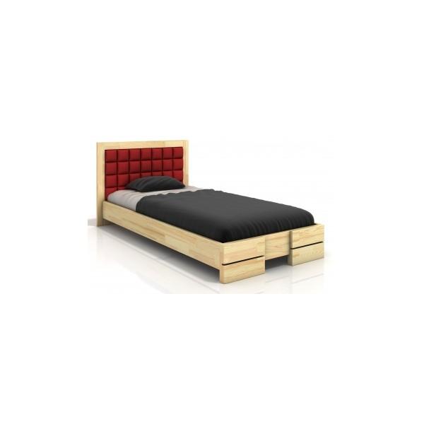 Elegantní dřevěná postel Erland 8 s čalouněným čelem