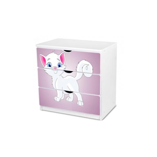 Dětská komoda s bílou kočičkou
