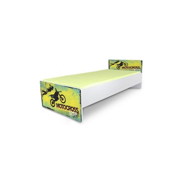 Jednolůžková postel s motivem zeleného Motocross