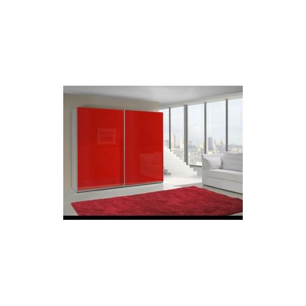 Červená šatní skříň Darvin 13 s bílým korpusem