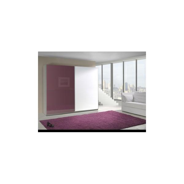Moderní šatní skříň Darvin 9 v kombinaci bílá a fialová