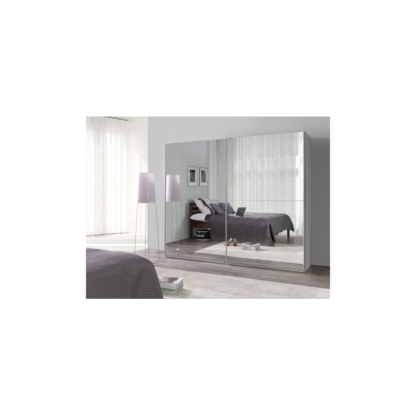 Zrcadlová šatní skříň Darvin 23 v bílé barvě