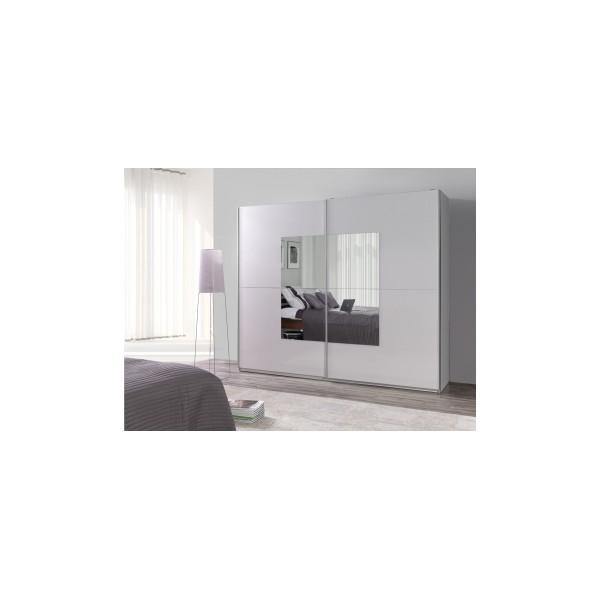 Velká šatní skříň Darvin 25 v bílé barvě se zrcadlem