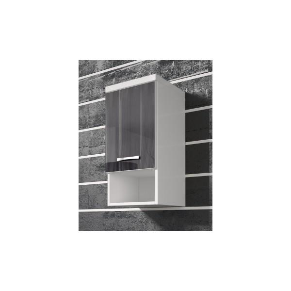 Závěsná skříňka Horace - bílá / černý ořech lesk