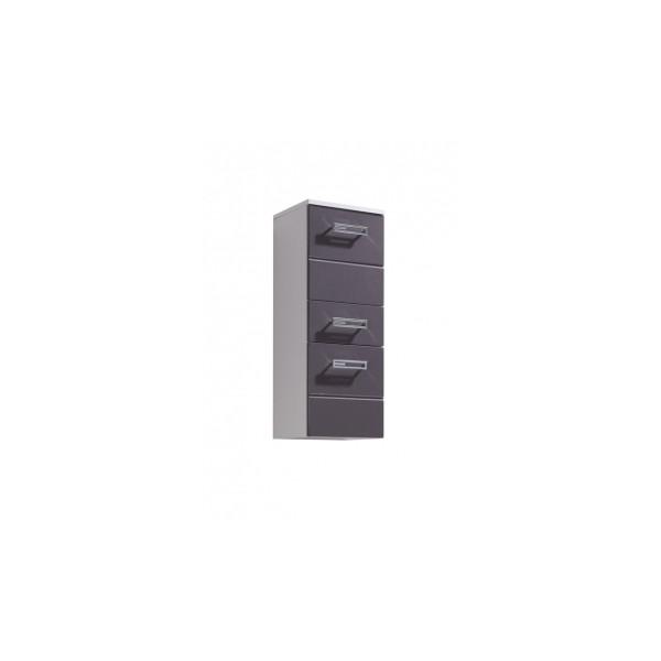 Střední šuplíková skříňka Demario - bílá / šedý lesk