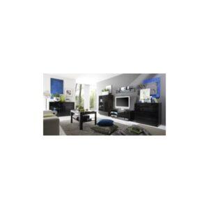 Luxusní obývací sestava Astor 1 – wenge / černé sklo