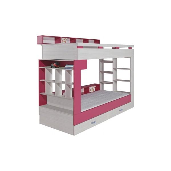 Patrová postel s policemi a úložným prostorem Adéla 1