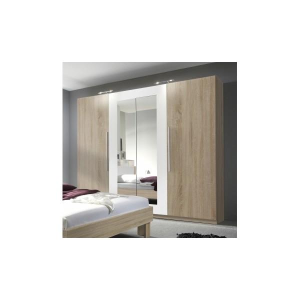 Šatní skříň se zrcadlem Veria bds - dub sonoma / bílá