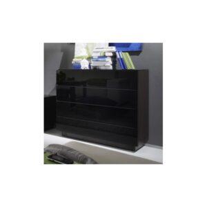 Šuplíková komoda Astor - provedení wenge / černé sklo