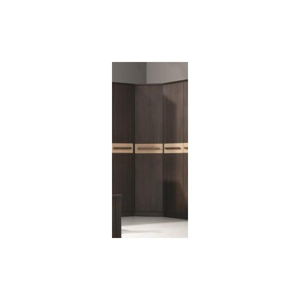 Rohová šatní skříň Delora 3 - provedení dub/čokoláda